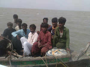 The picture is of the nine Pakistani nationals apprehended by the BSF. This is not the first time the force has apprehended Pakistani nationals in Indian waters off the Gujarat coast.