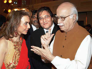 Parmeshwar Godrej with LK Advani and Vinod Khanna.