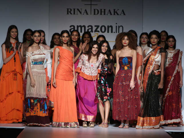 The designer's takes a bow at the end of her show on the first day of the Amazon India Fashion Week.