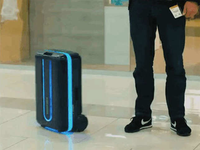 The suitcase, called Travelmate, stays three to five feet behind the owner by tracking the location of their smartphone.