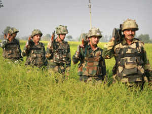 """""""Small arms bursts are beings fired by Pakistan Rangers in Abdullian village in the Suchetgarh sector in RS Pura,"""" Deputy Commissioner Jammu Simrandeep Singh said."""