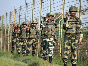 A BSF patrolling party at the India-Pakistan border