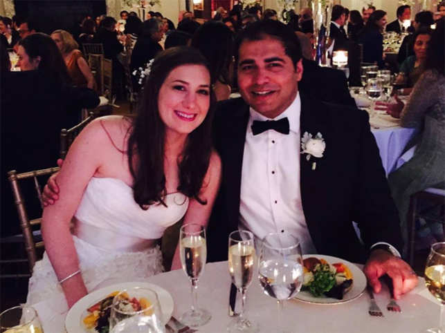 Tavraj and Alexandra at their wedding in the US last year.
