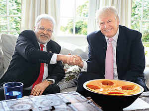 Donald Trump with Shalabh Kumar, a Chicago-based, Indian-American businessman, a big Trump donor and chairman of the Republican Hindu Coalition.