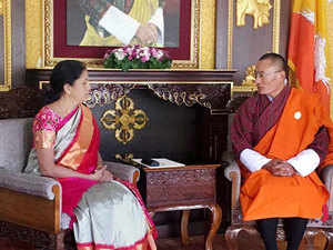 Bhutanese PM Tshering Tobgay with MoS (Independent Charge), Commerce and Industry, Nirmala Sitharaman in Thimpu.