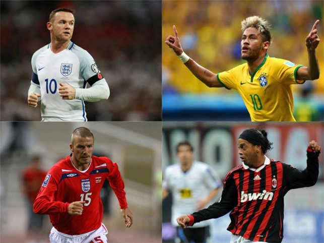 Clockwise from top left: Rooney, Neymar,  Ronaldinho and Beckham