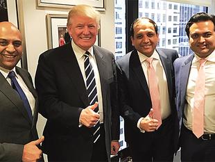 (From Left) Atul Chordia, Donald Trump, Sagar Chordia and Kalpesh Mehta.