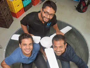 (Left, in blue shirt)  Manoj Meena, founder of Atomberg Technologies with team members  Arindam Paul and Sibabrata Das.