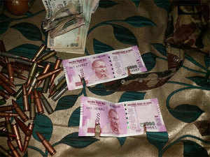 New Rs 2000 notes recovered from terrorists gunned down by Army in Bandipora(J&K) today.