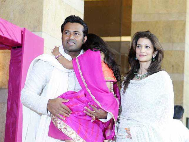 Leander Paes with Rhea Pillai and daughter Aiyana.