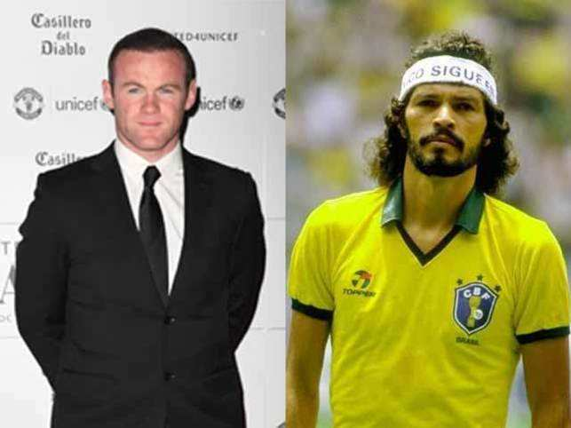 Wayne Rooney (left) and Socrates (right).