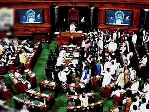 He was caught and lifted up by about 4-5 alert personnel. It then transpired that the man had tried to jump into the Lok Sabha Chamber.