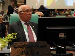"""Sartaz Aziz stated that the Indian """"belligerence"""" is a threat to the regional peace and security and can lead to a strategic miscalculation, which would be disastrous for the region."""