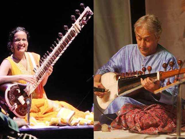 Anoushka Shankar, sitarist (left) and  Ustad Amjad Ali Khan, sarod maestro (right).