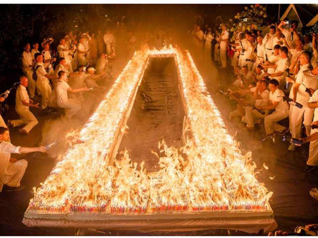 Bengali spiritual guru's birthday cake with 72,585 candles sets Guinness World Record
