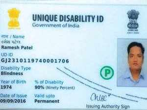 A person with less than 40% disability would have a card with a white stripe, 40 to 80% would have a card with yellow stripe and above 80% card with a blue stripe.