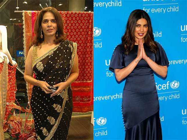 Designer Anita Dongre (left) and Priyanka Chopra (right)