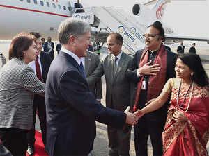 President of Kyrgyzstan , Almazbek Sharshenovich Atambayev with his wife Raisa Atambayeva upon their arrival at Air Force station Palam