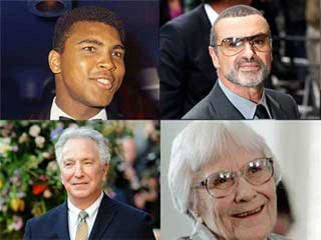 Clockwise from top left: Muhammad Ali, George Michael, Harper Lee, and Alan Rickman.