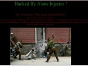 "The hackers identified themselves as 'Alone Injector'. They also left the message ""Pakistan Zindabad"" on the home page."