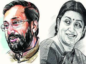 A mid-year reshuffle saw Smriti Irani handing over charge of the ministry to Prakash Javadekar to become Minister of Textiles.