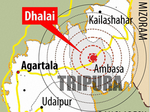 Another earthquake with a magnitude of 5.7 rocked Tripura near the India-Bangladesh border on Monday.