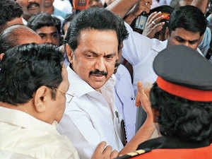 Stalin along with party leaders during the general council meting at the party headquarters in Chennai on Wednesday.