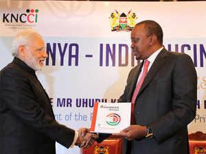 Prime Minister Narendra Modi and Kenyan President Uhuru Kenyatta at India-Kenya Business Forum, at Nairobi, in Kenya on Wednesday.