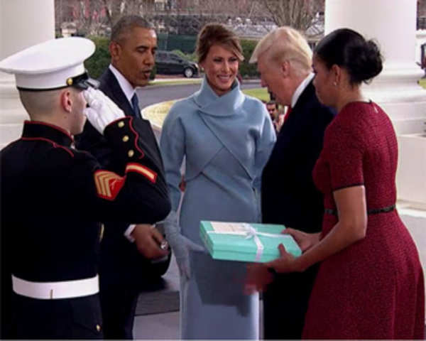 Obamas greet the trumps at the white house the economic times obamas greet the trumps at the white house the economic times video et tv m4hsunfo