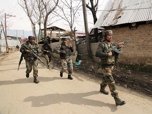 Security forces has deployed helicopter to flush out militants which are believed to be hiding in the area.