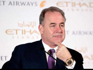 The Abu Dhabi-based airline gave no reason on Tuesday for James Hogan's [in pic] departure.