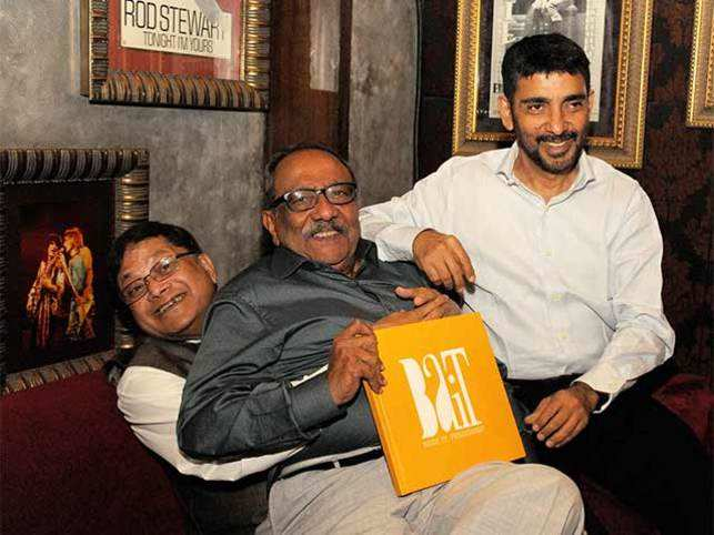IT pioneers and founders of Beer Drinkers Association of Information Technology (BAIT) Bikram Dasgupta, Pravin Gandhi and Pradeep Kar share a light moment at their reunion after 18 years at the launch of the coffee table book, BAIT.