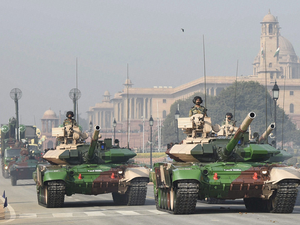 Indian Army's mighty tanks move at Rajpath.