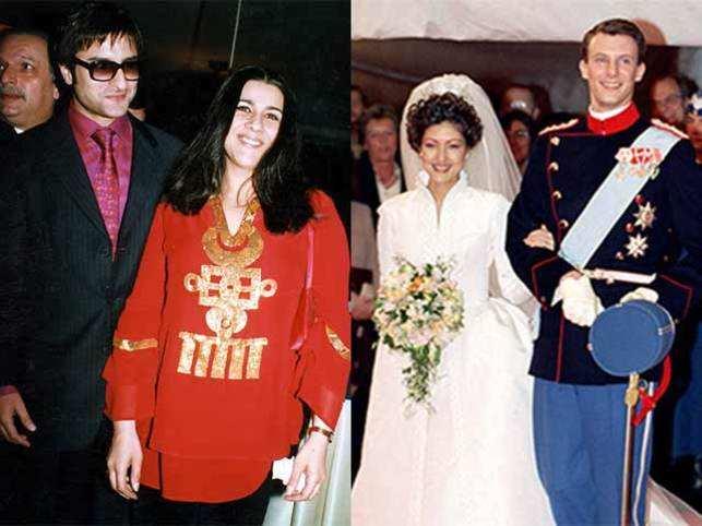 Saif Ali Khan with Amrita Arora (left) and  Prince Joachim of Denmark and Princess Alexandra (right).