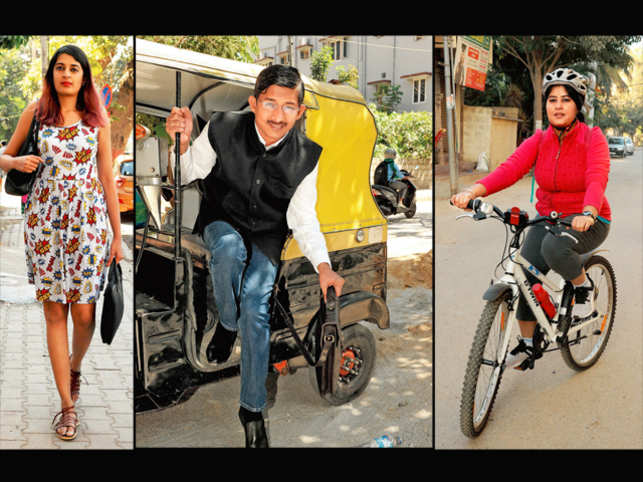 On the road: Many Bengalureans are choosing to walk or cycle instead of using cars
