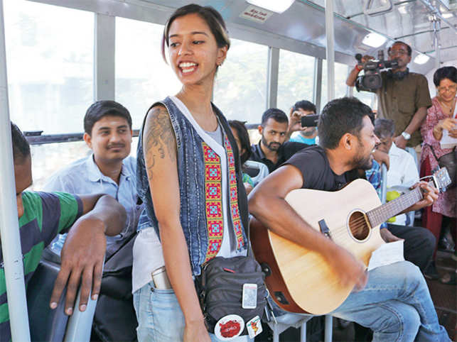Savitha Shriram, a Carnatic musician, said the idea to sing in a bus was a powerful medium to take music to the public.