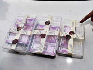Pic of Rs 18 lakh in the form of counterfeit Rs 2000 notes recovered by the Delhi Police Special Cell in January this year.