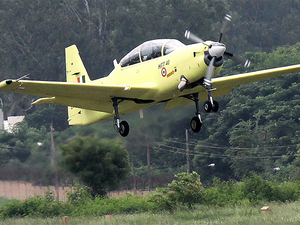 The inaugural flight of HTT-40, designed and developed by Hindustan Aeronautics Limited, took off from HAL airport inaugurated by Union minister.