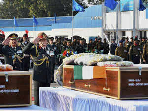 Bipin Rawat laid floral wreaths on the coffins carrying the mortal remains of the three soldiers, one of whom hailed from Marhama area of Anantnag district. (File pic)