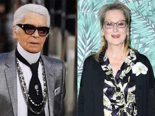 Karl Lagerfeld (left) and Meryl Streep (right).