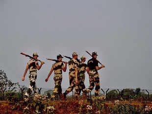 BSF jawans patrolling the Indo-Bangladesh International Border in Agartala.