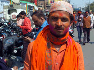 Even Muslim members played Holi.  Slogans hailing Lord Ram and resolving to build a Ram temple were muted after BJP functionaries called on supporters to evoke Narendra Modi and state party leader Keshav Prasad Maurya.