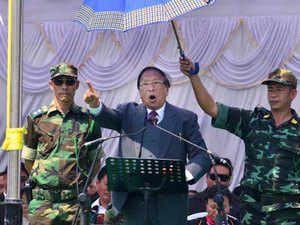 TH Muivah, General Secretary of the NSCN-IM addresses the 38th Naga Republic Day celebrations at the NSCN-IM Headquarters, Hebron on the outskirts of Dimapur, Nagaland on Tuesday.