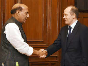 The Director of the Federal Security Service, Russia, Alexander Bortnikov and Union Home Minister Rajnath Singh during a meeting, in New Delhi.