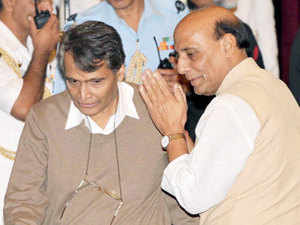 The Home Ministry spokesperson said Rajnath Singh and Suresh Prabhu discussed the recent incidents of railway accidents.