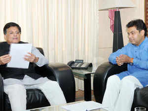 Power Minister of Uttar Pradesh, Shrikant Sharma meeting the Minister of State for Power, Coal, New and Renewable Energy and Mines (Independent Charge), Piyush Goyal, in New Delhi.