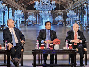 The panel discussion included Piramal Group chairman Ajay Piramal, YES Bank chief executive Rana Kapoor and The Boston Consulting Group CEO Rich Lesser.
