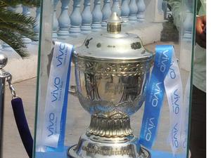 10th VIVO IPL-2017 trophy during the promotional event at Millennium Park.