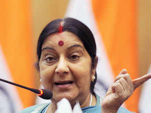 """""""The government continues to meet this challenge with renewed resolve and determination,"""" Sushma Swaraj said."""