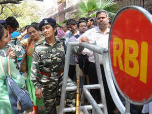 Long serpentine queues of people were seen outside five RBI offices in Mumbai, Delhi, Kolkata, Chennai and Nagpur -- the designated offices for exchange of scrapped notes -- today.